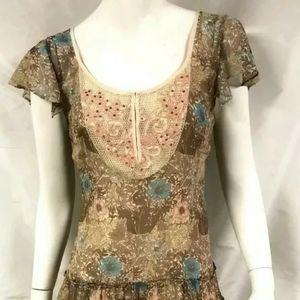 Free People sz 6 Boho Floral Pink Brown Fluttery